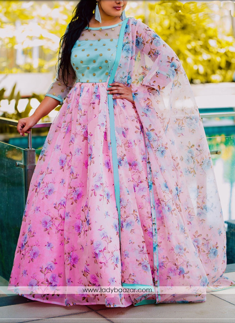 Digital Printed Designer Wear Embroidered Long Tussar Silk Gown Along With Printed Dupatta