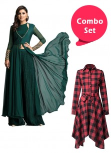 Digital Printed Western Wear & Stitched Green Embroidered Tunic With Palazzo Set - Pack Of 2