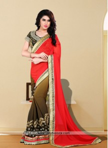Dignified Art Silk Embroidered Work Designer Saree