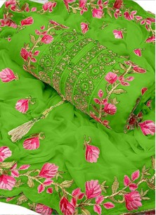 Dignified Embroidery Chanderi Cotton Green Designe