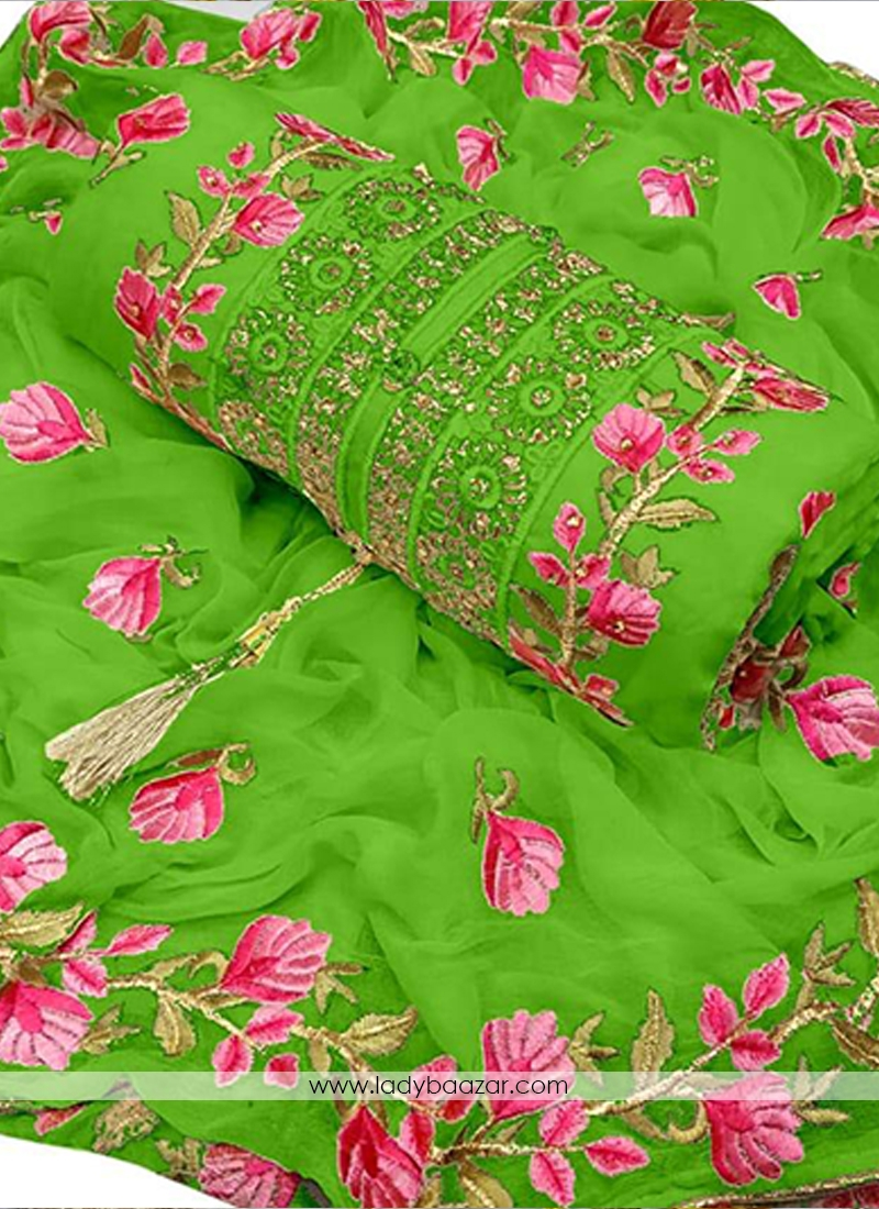 Dignified Embroidery Chanderi Cotton Green Designer Dress Material