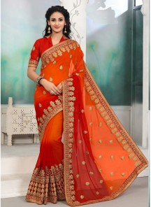 Dignified Embroidery Work Orange Half N Half Saree