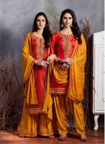 Dignified Embroidery Work Satin Designer Patiala Suit