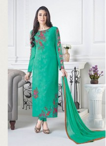Dignified  Green Crepe Embroidery Work Straight Suit