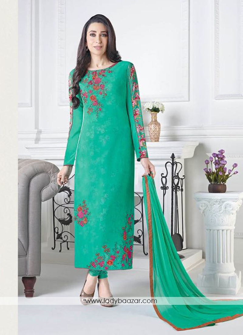 2fb6e98d91 Dignified Green Crepe Embroidery Work Straight Suit