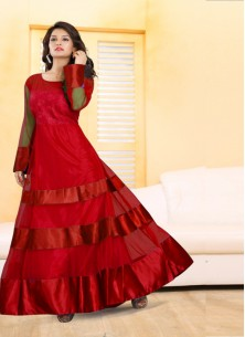 Dilettante Embroidered Work Net Red Designer Gown