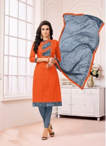 Dilettante Grey With Orange Cotton Printed Dress
