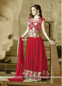 Distinctive Embroidered Work Georgette and Net Tomato Red Designer Gown