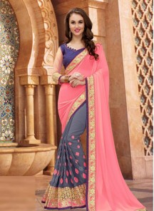 Distinctive Georgette Embroidered Work Designer Half N Half Saree