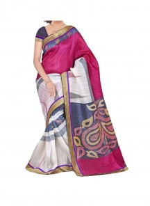 Distinctively Bhagalpuri Silk Multi Color Printed Saree