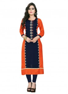 Distinctively Embroidery Work Rayon Casual Kurti
