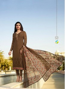 Distinguishable Embroidered Work Crepe Brown Churidar Suit