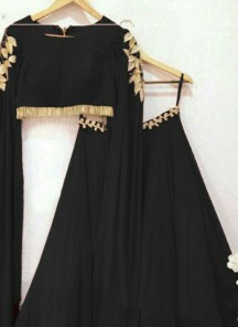 Distinguishable Faux Georgette Fabric Black Thread Embroidered Lehenga Choli