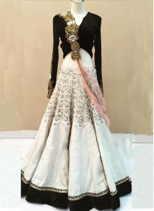 Divine White and black  multy Work A Line Lehenga Choli