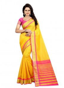 Divine Yellow Cotton Silk Printed Casual Saree