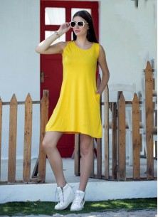 Divine Yellow Reyon With Lycra Sleeve Less Western Wear