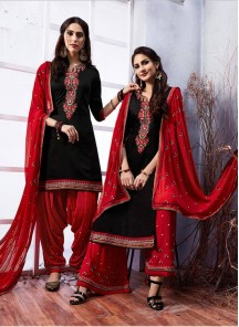 Elegant Black Embroidery Work Cotton Designer Patiyala Suit