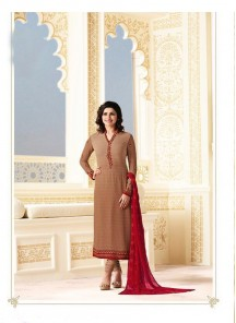 Elegant Brown Georgette Printed N Embroidery Work Dress