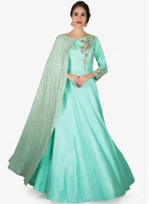 Elite Turquoise Banglori Silk Sequins Work  Party Wear Gown