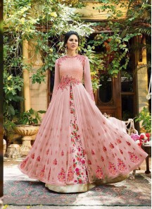 Emboidery Work Georgette Peach Floor Length Anarkali Suit