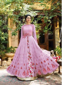 Emboidery Work Georgette Pink Floor Length Anarkali Suit