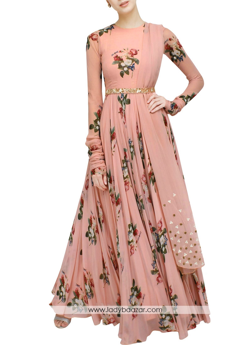 Embroidered Designer Wear Peach Digital Floral Printed Gown