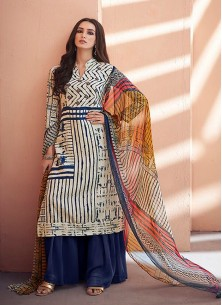 Embroidered Jam Silk Designer Palazzo Suit In Multi
