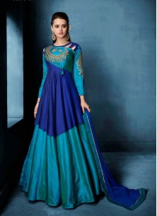 Embroidered Morvi Silk Floor Length Anarkali Suit