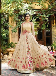 Embroidery  Work Georgette Cream Floor Length Anarkali Suit