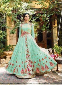 Embroidery  Work Georgette  Turquoise Floor Length Anarkali Suit