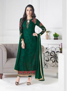 Enchanting Green Crepe Embroidery Work Churidar Salwar Suit