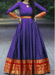 Energetic Blue Colored Festive Wear Woven Tapetta Silk Gown