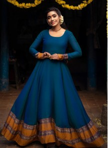 Energetic Blue Colored Party Wear Woven Georgette Gown