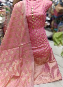Energetic weaving Work Banarasi Jacquard Pink Designer Dress Material
