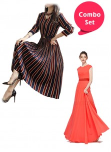 Engrossing Gorgette & Semi Rayon Partywear Gowns -