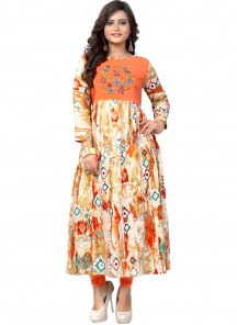 Enthralling Rayon Multi Colour Embroidery Work Party Wear Kurti