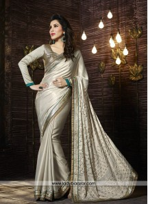 Enthralling Sattin Georgette Patch Border Work Designer Saree