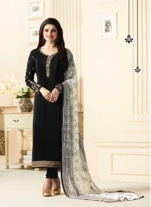 Enticing Crepe  Embroidery Work Black  Churidar Suit