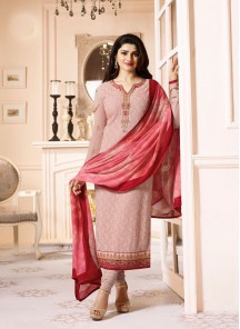 Entrancing Georgette peach Embroidery Work Churidar Dress