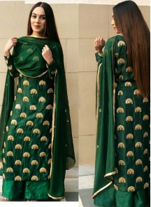 Epitome Green Colour Embroidered Designer Palazzo Suit