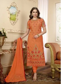 Epitome Orange Embroidery Work Cotton Churidar Dess
