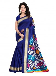 Especial Blue Color Bhagalpuri SIlk Casual Saree