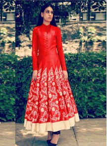 Especial Embroidered Work Banglori Silk Red Designer Suit