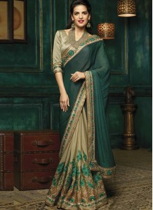 Especial Embroidery Work Beige And  Green Silk Designer Half N Half Saree