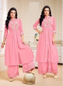 Ethic Chanderi Silk Pink Embroidery Palazzo Salwar Suit