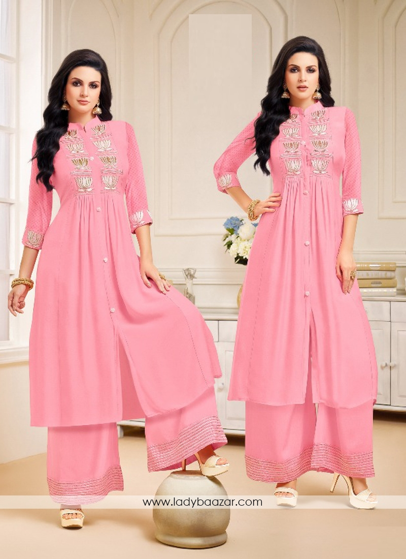 95972040d3 Ethic Chanderi Silk Pink Embroidery Palazzo Salwar Suit
