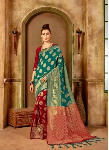 Ethnic Banarasi Silk Red Weaving Traditional Saree