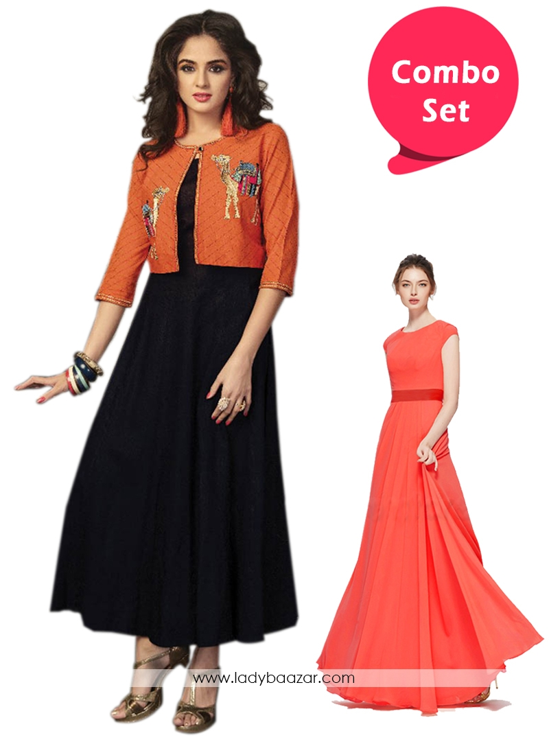 Ethnic Gorgette Gown & Designer Wear Gown With Embroidery Work Jackets - Pack of 2
