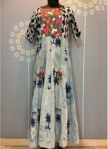 Ethnical Cotton Printed Embroidery Dress