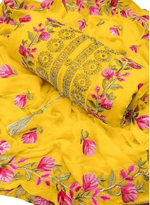 Exceeding Yellow Embroidered Chanderi Cotton Designer Dress Material